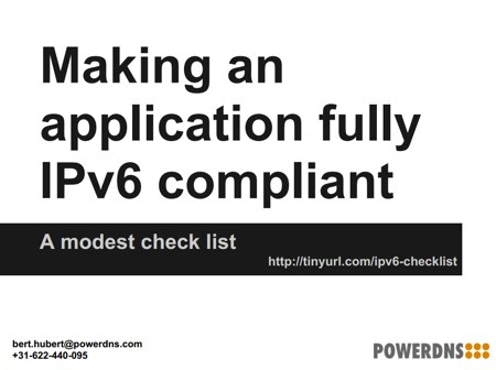 Slide: Making an application fully IPv6 compliant